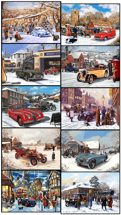 Car Christmas.Pack Of 10 Assorted Classic Car Themed Christmas Cards